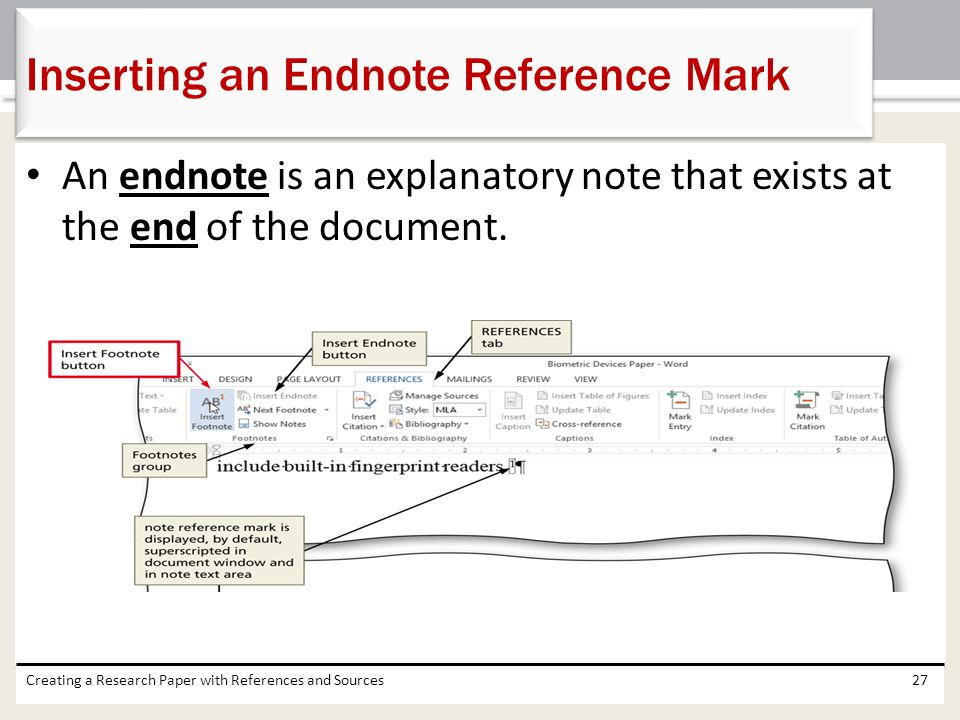 Inserting an Endnote Reference Mark
