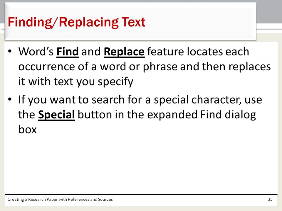 Finding/Replacing Text