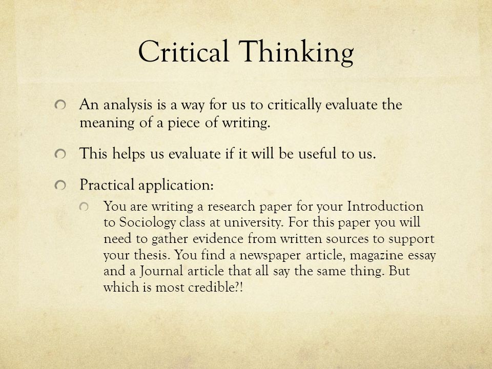 Critical thinking application paper study