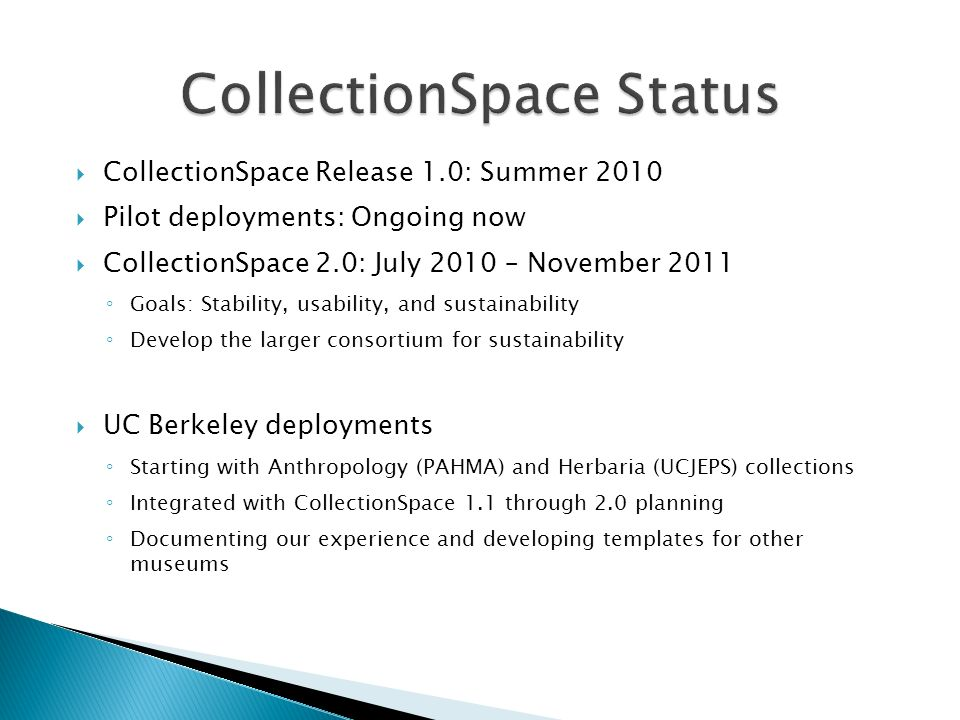CollectionSpace Status