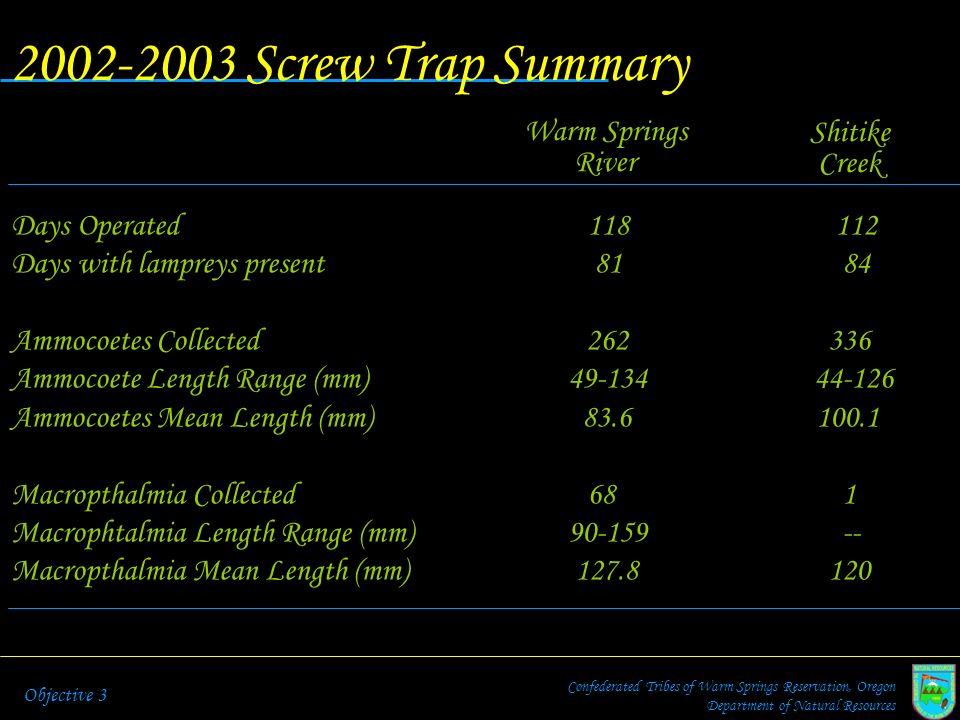 2002-2003 Screw Trap Summary Warm Springs Shitike River Creek