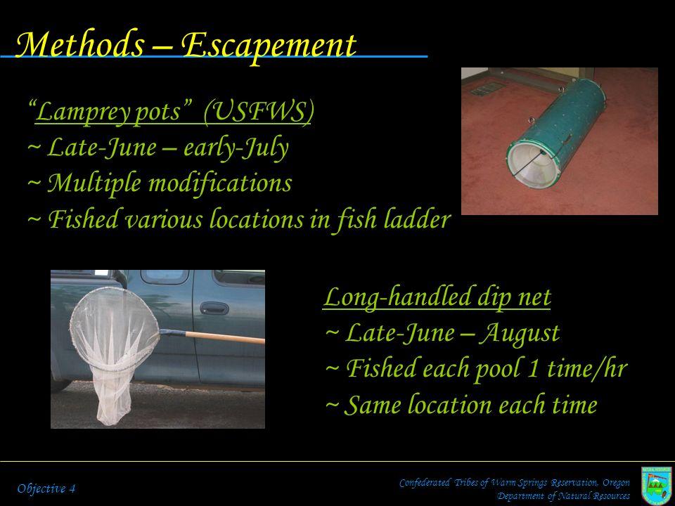 Methods – Escapement Lamprey pots (USFWS) Late-June – early-July