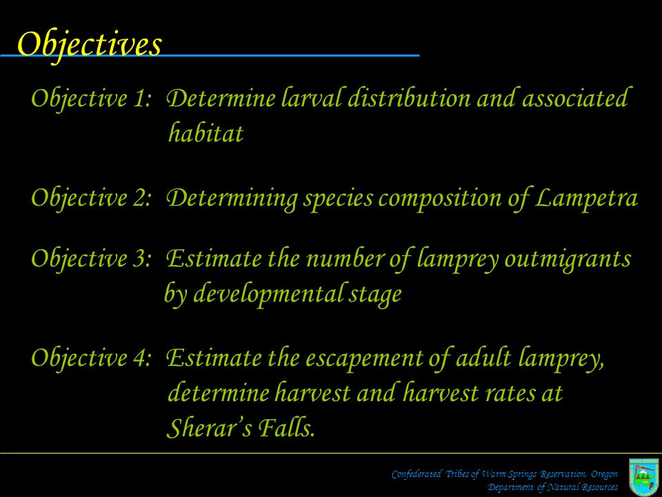 Objectives Objective 1: Determine larval distribution and associated habitat. Objective 2: Determining species composition of Lampetra.
