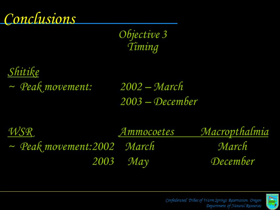 Conclusions Objective 3 Timing Shitike Peak movement: 2002 – March
