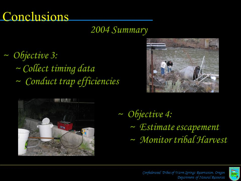 Conclusions 2004 Summary Objective 3: Collect timing data