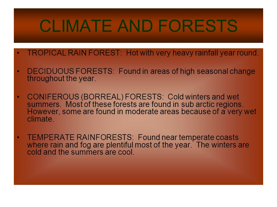 CLIMATE AND FORESTS TROPICAL RAIN FOREST: Hot with very heavy rainfall year round.