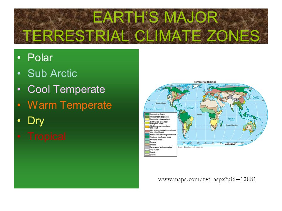 EARTH'S MAJOR TERRESTRIAL CLIMATE ZONES