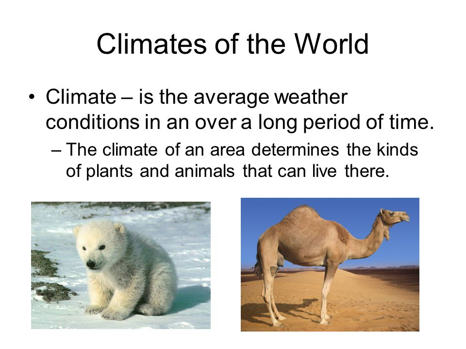 Climates of the World Climate – is the average weather conditions in an over a long period of time.