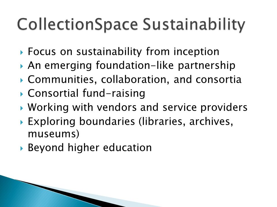 CollectionSpace Sustainability