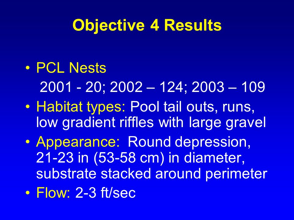 Objective 4 Results PCL Nests 2001 - 20; 2002 – 124; 2003 – 109