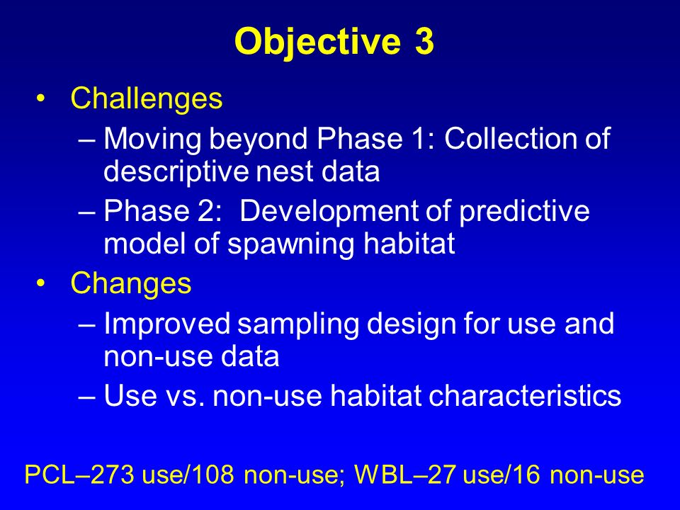Objective 3 Challenges. Moving beyond Phase 1: Collection of descriptive nest data. Phase 2: Development of predictive model of spawning habitat.