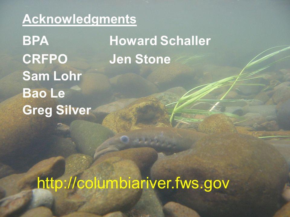 http://columbiariver.fws.gov Acknowledgments BPA Howard Schaller