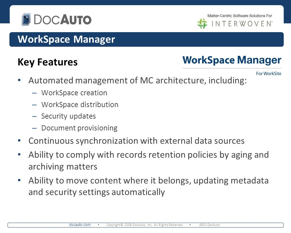 WorkSpace Manager Key Features