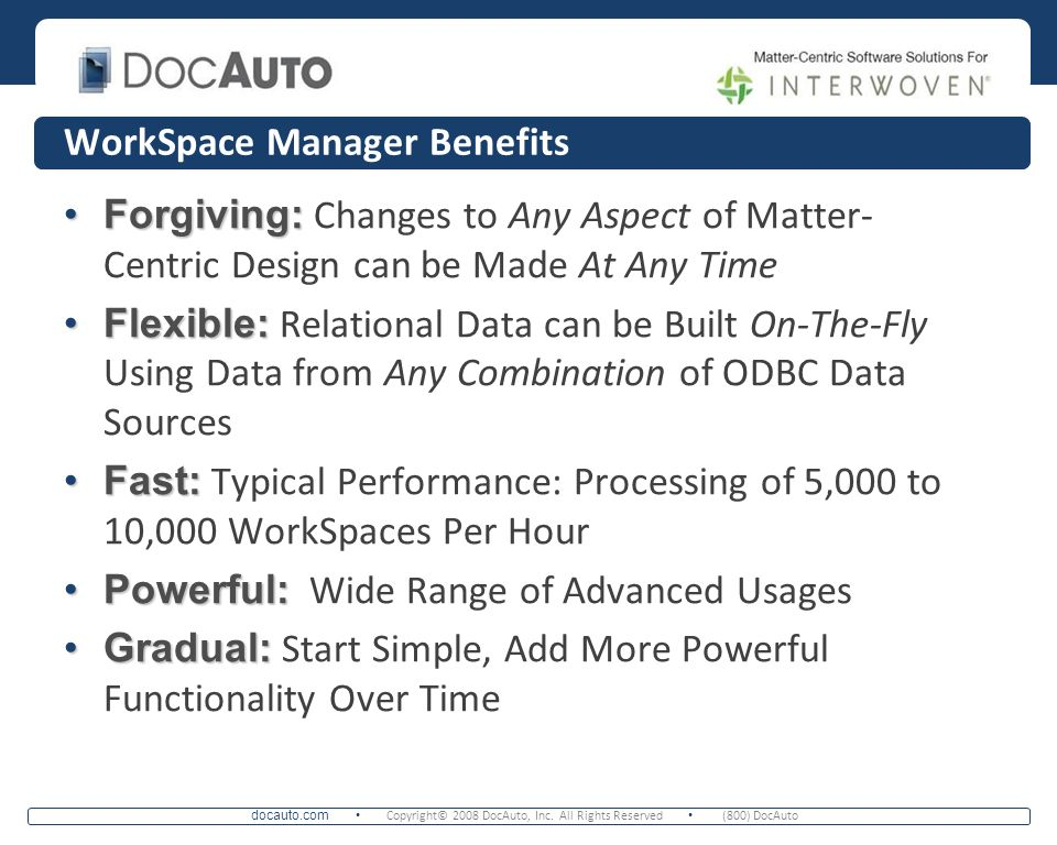 WorkSpace Manager Benefits