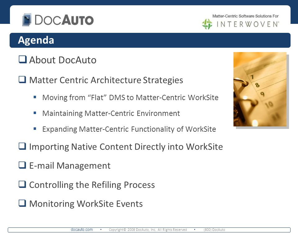 Agenda About DocAuto Matter Centric Architecture Strategies