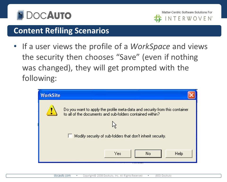Content Refiling Scenarios