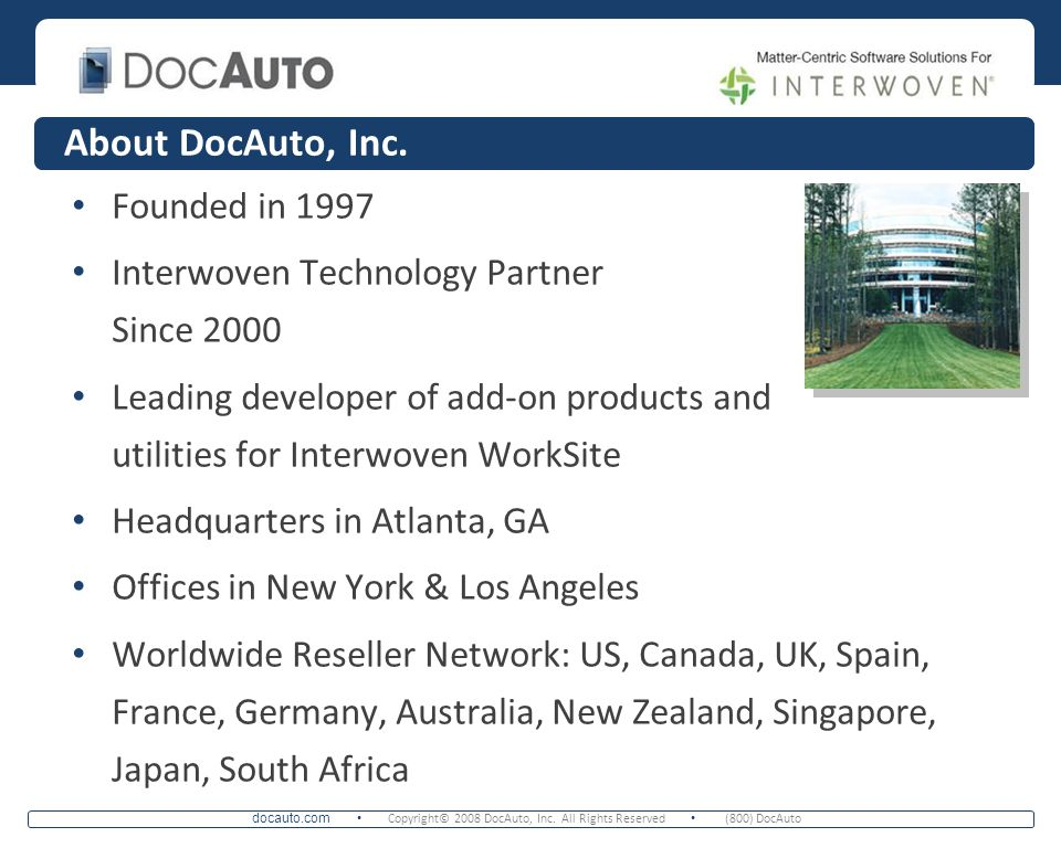 About DocAuto, Inc. Founded in 1997