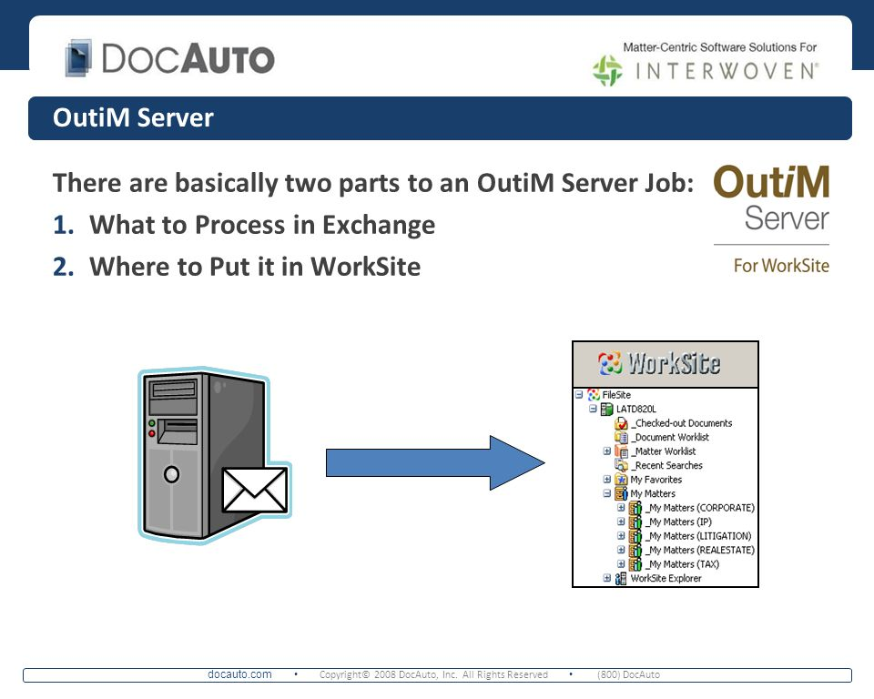 OutiM Server There are basically two parts to an OutiM Server Job: What to Process in Exchange.