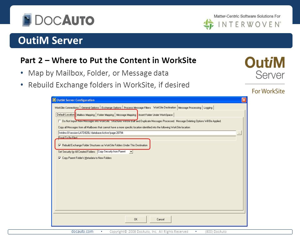 OutiM Server Part 2 – Where to Put the Content in WorkSite