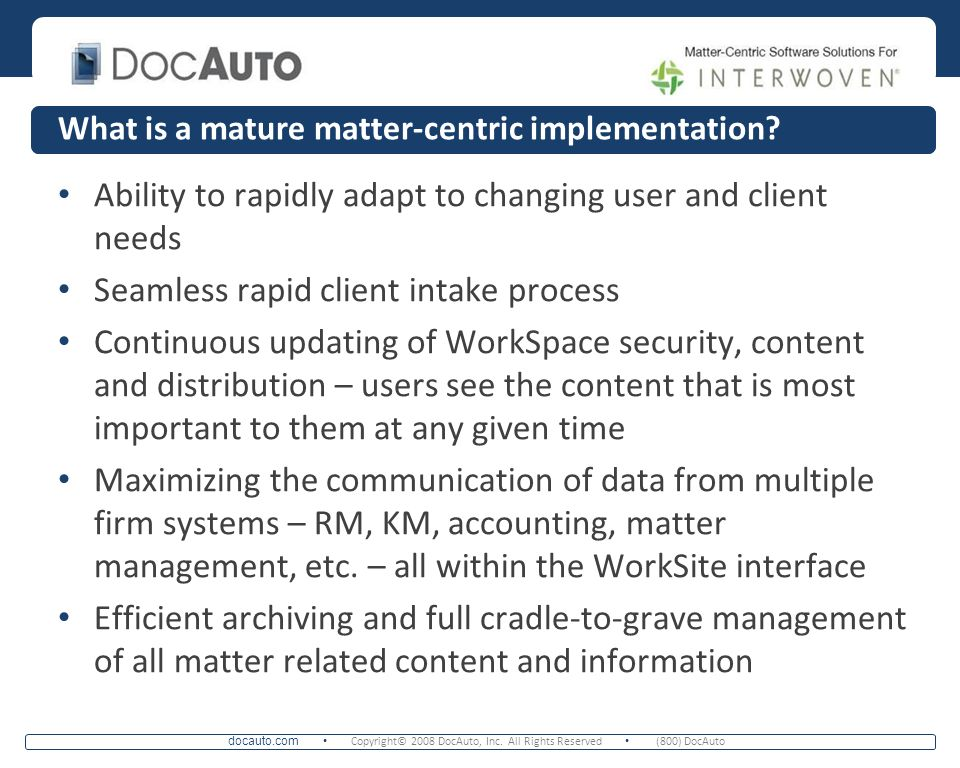 What is a mature matter-centric implementation