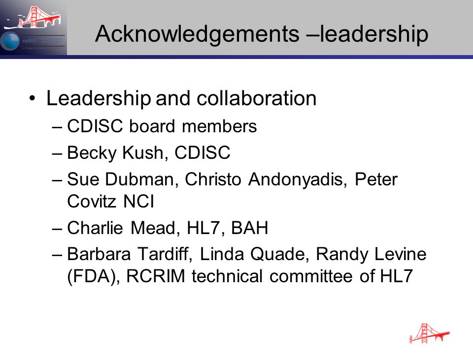 Acknowledgements –leadership