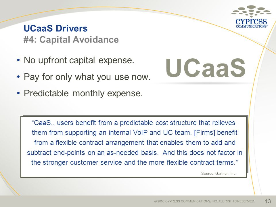 UCaaS Drivers #4: Capital Avoidance