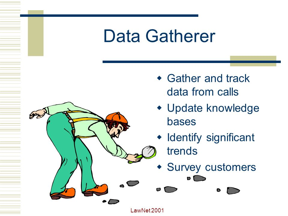 Data Gatherer Gather and track data from calls Update knowledge bases