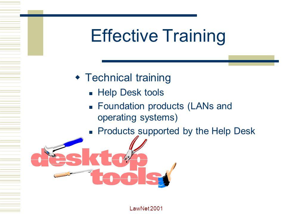 Effective Training Technical training Help Desk tools