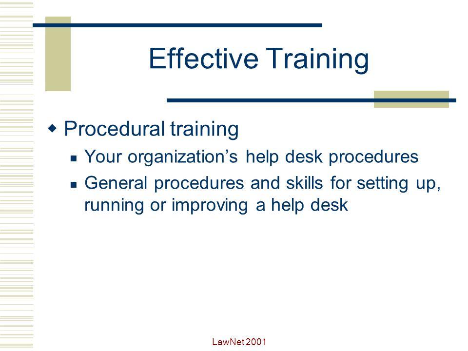 Effective Training Procedural training