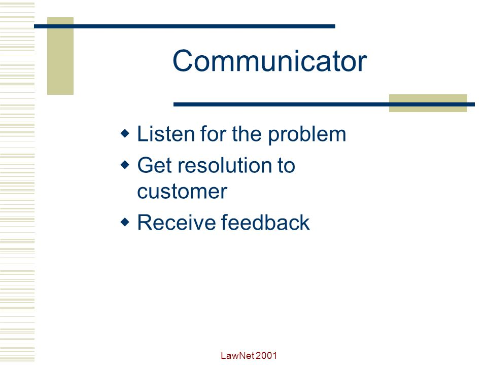 Communicator Listen for the problem Get resolution to customer