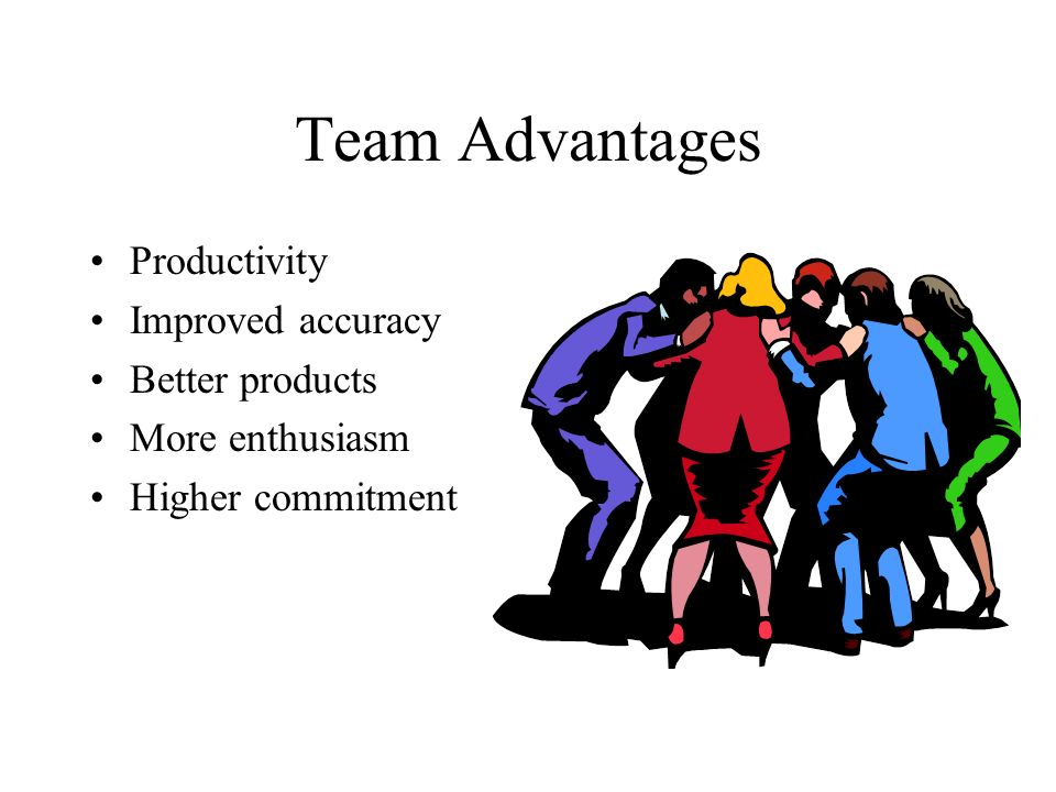Team Advantages Productivity Improved accuracy Better products
