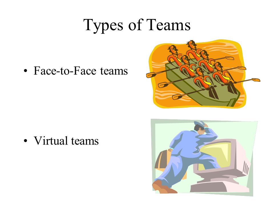 Types of Teams Face-to-Face teams Virtual teams
