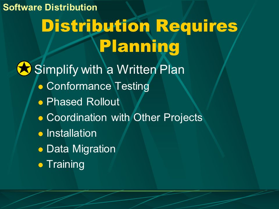Distribution Requires Planning
