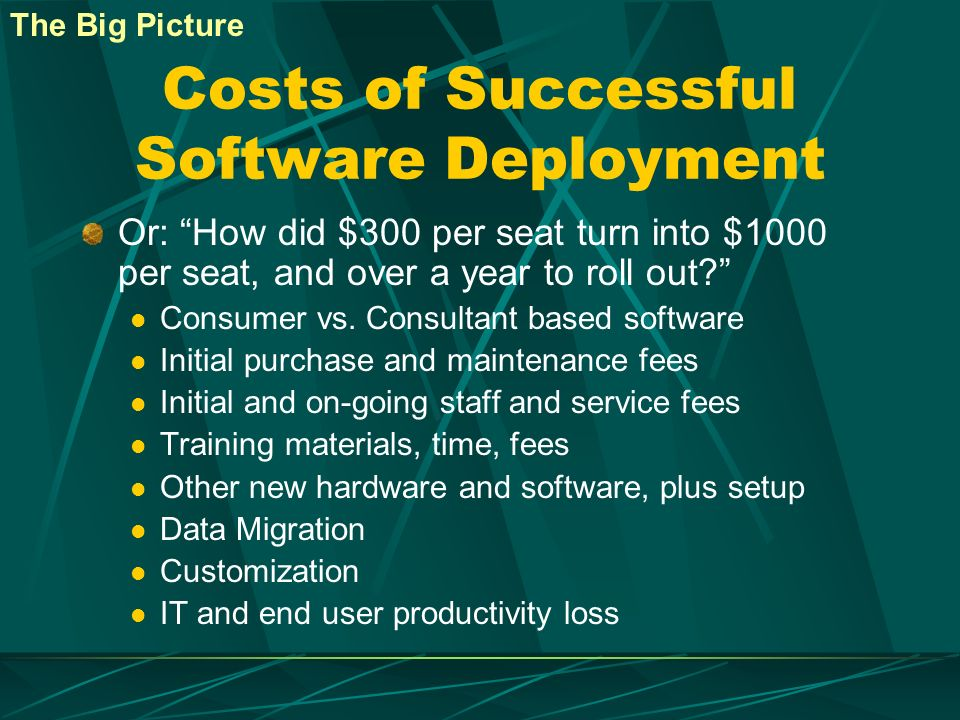 Costs of Successful Software Deployment