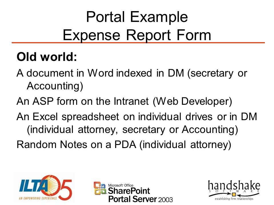 Portal Example Expense Report Form