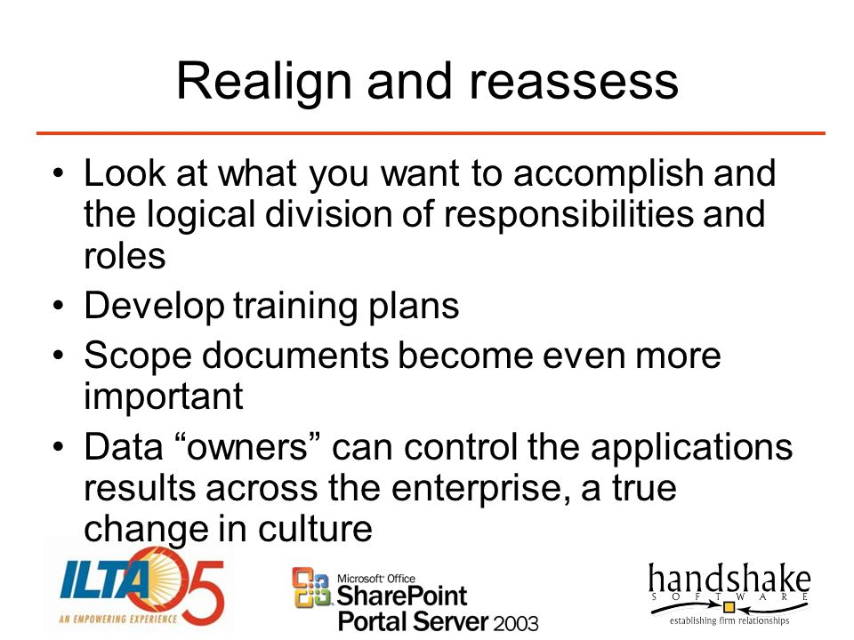 Realign and reassess Look at what you want to accomplish and the logical division of responsibilities and roles.