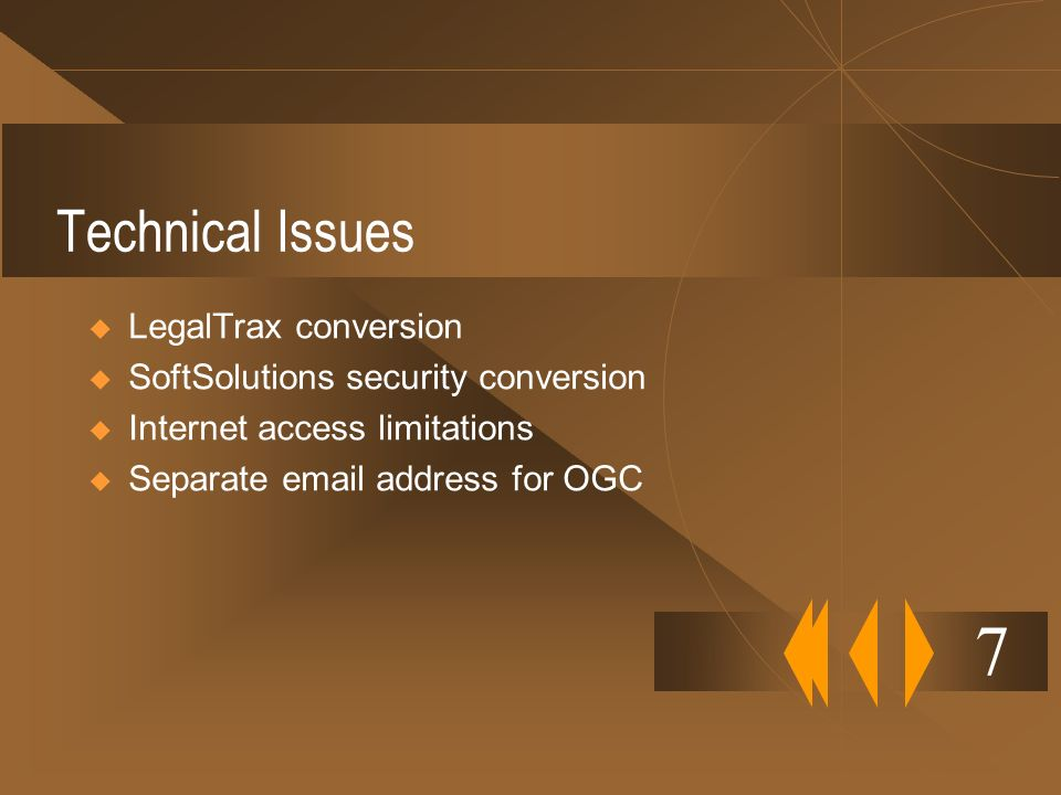 7 Technical Issues LegalTrax conversion