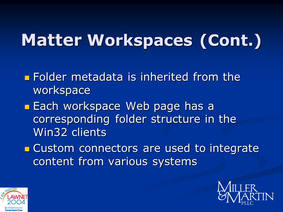 Matter Workspaces (Cont.)