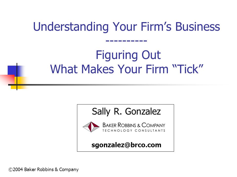 Understanding Your Firm's Business ---------- Figuring Out What Makes Your Firm Tick