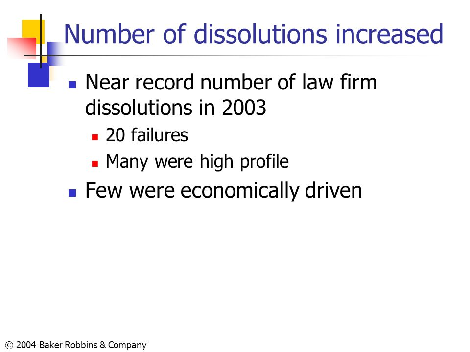 Number of dissolutions increased