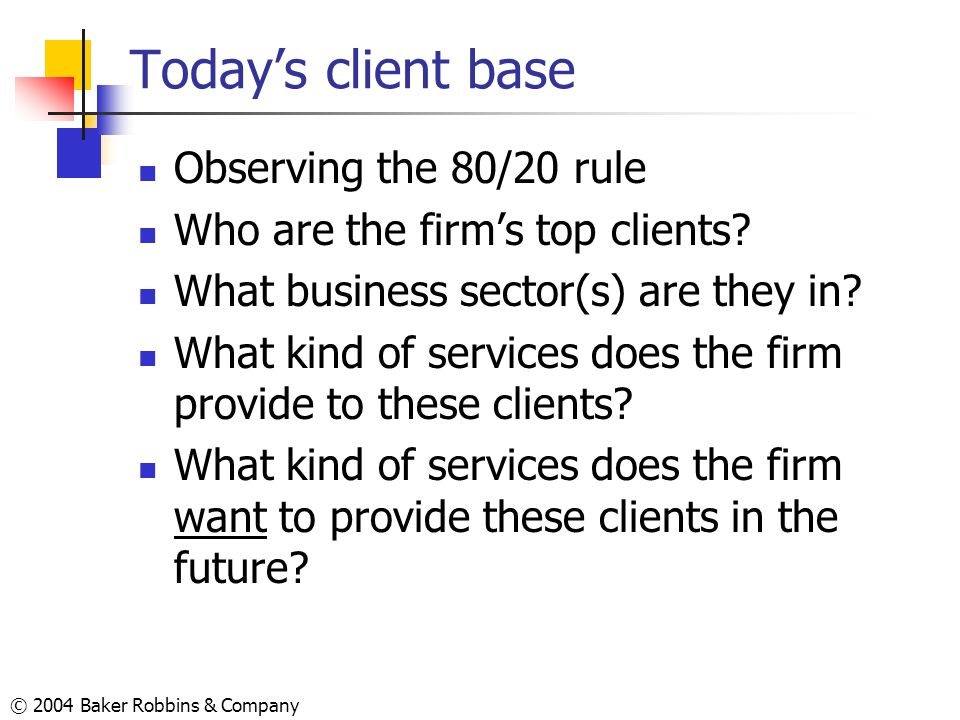 Today's client base Observing the 80/20 rule