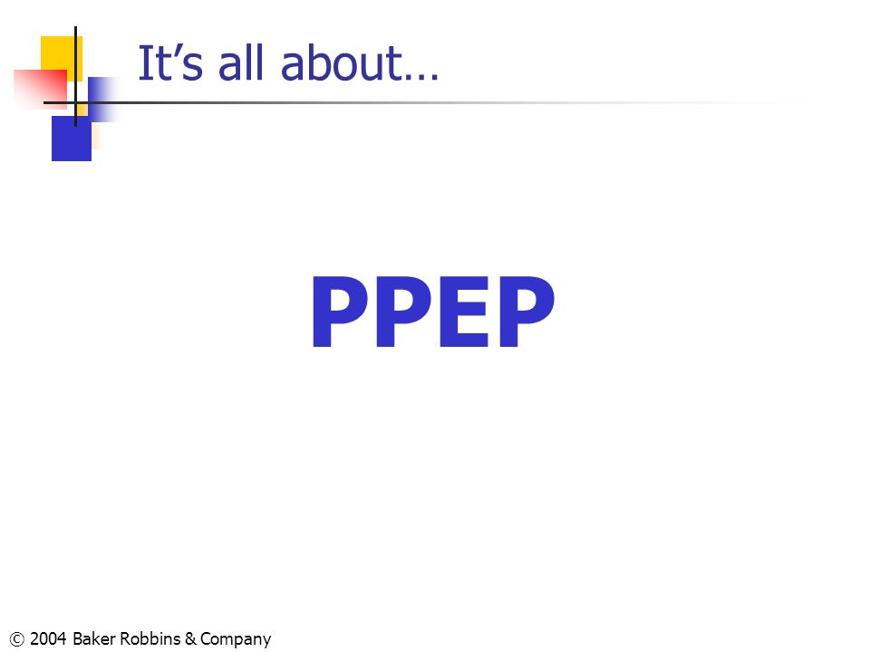 It's all about… PPEP © 2004 Baker Robbins & Company