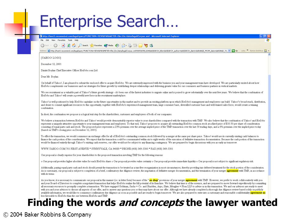 Enterprise Search… Finding the words and concepts the lawyer wanted