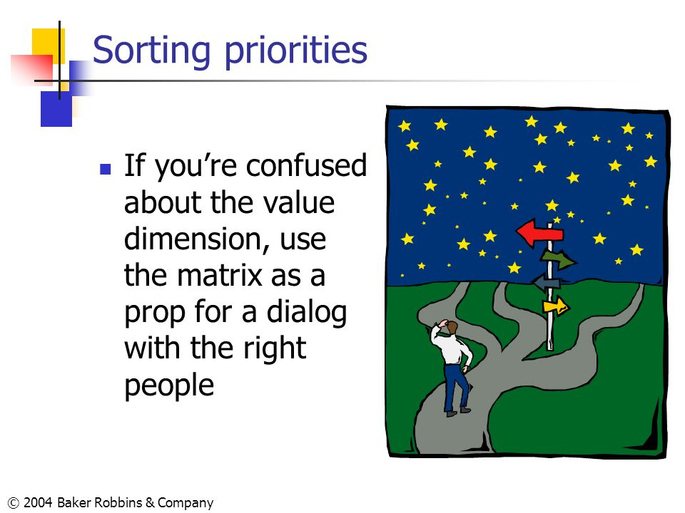Sorting priorities If you're confused about the value dimension, use the matrix as a prop for a dialog with the right people.