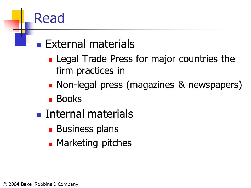 Read External materials Internal materials