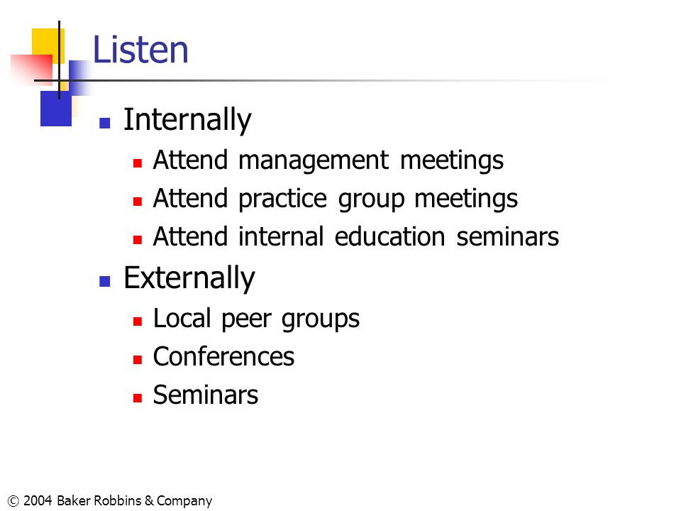 Listen Internally Externally Attend management meetings