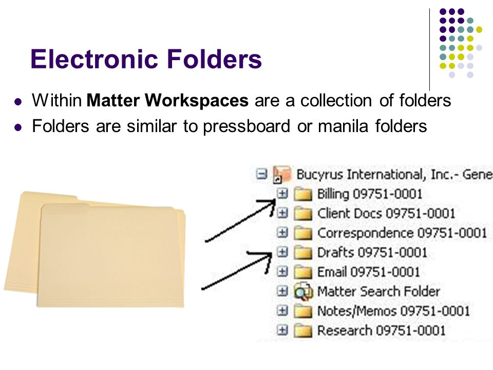 Electronic Folders Within Matter Workspaces are a collection of folders. Folders are similar to pressboard or manila folders.