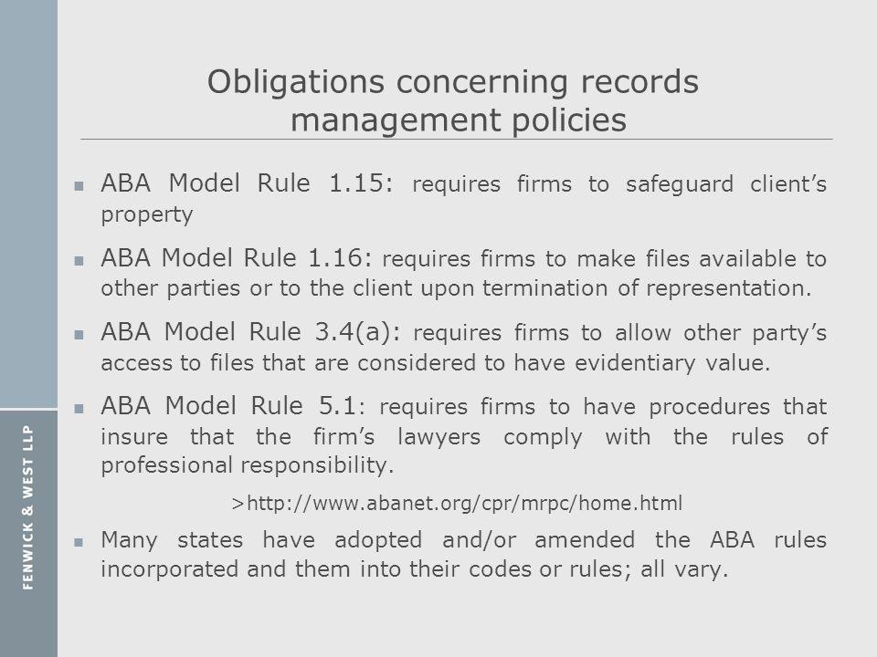 Obligations concerning records management policies