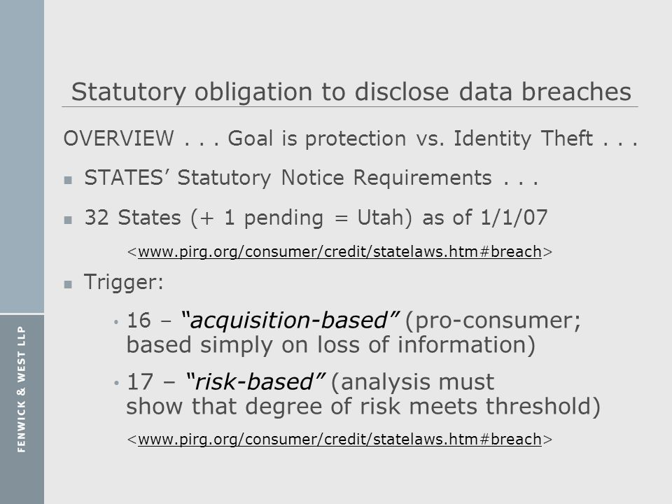 Statutory obligation to disclose data breaches