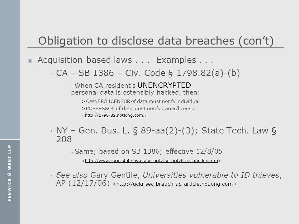 Obligation to disclose data breaches (con't)